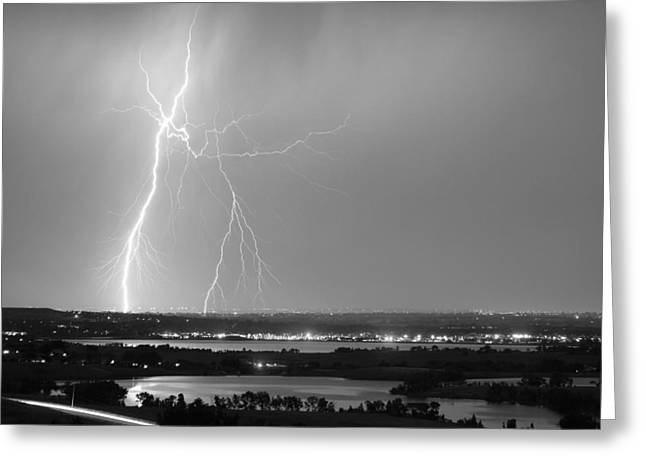 Lightning Strike Boulder Reservoir And Coot Lake Bw Greeting Card by James BO  Insogna
