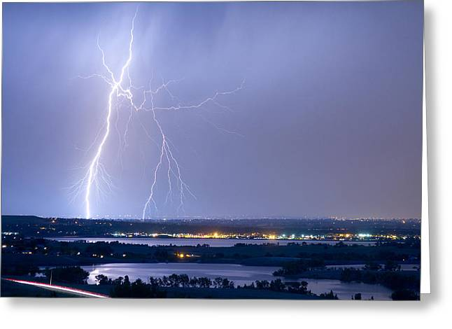 Storm Prints Photographs Greeting Cards - Lightning Strike Boulder Reservoir and Coot Lake Greeting Card by James BO  Insogna