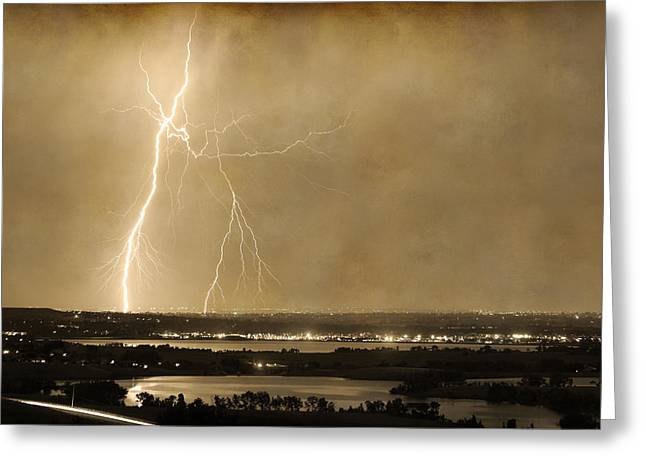 Lightning Gifts Photographs Greeting Cards - Lightning Strike Boulder Reservoir and Coot Lake Sepia 2 Greeting Card by James BO  Insogna