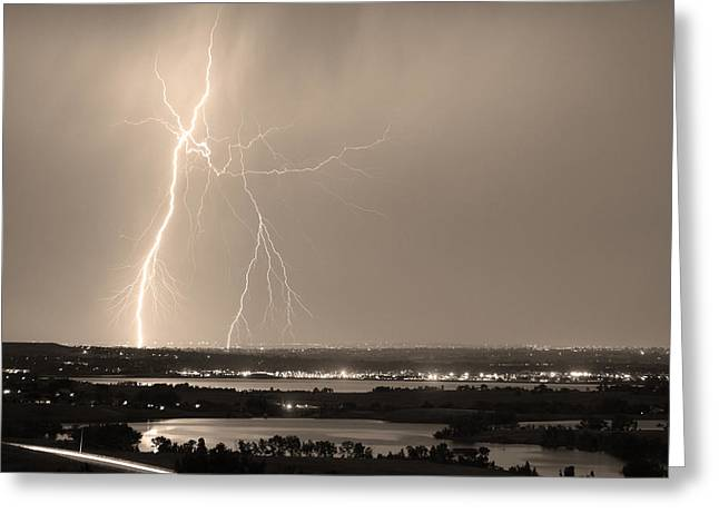 Photography Lightning Greeting Cards - Lightning Strike Boulder Reservoir and Coot Lake Sepia Greeting Card by James BO  Insogna