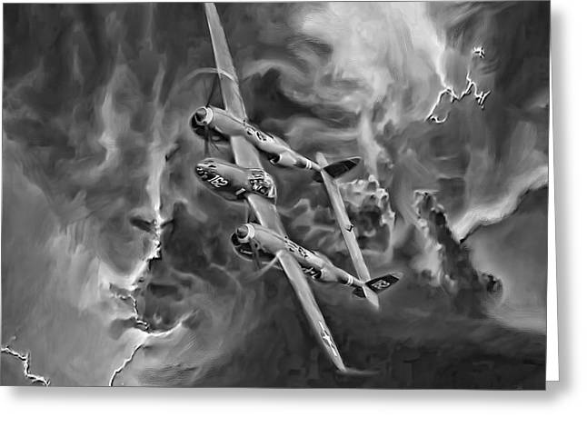 P-38 Greeting Cards - Lightning Strike-BW Greeting Card by Peter Chilelli