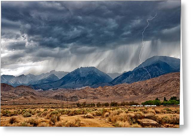 Storm Landscape Greeting Cards - LIghtning Strike Greeting Card by Cat Connor
