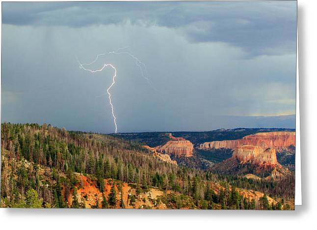 Lightning Bolts Greeting Cards - Lightning Strike in Bryce Canyon. Greeting Card by Johnny Adolphson