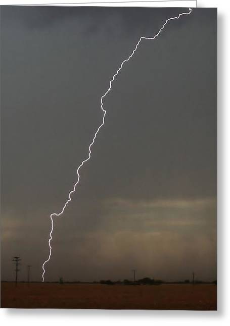 Electric Creation Greeting Cards - Lightning Strike in Texas Greeting Card by Ed Sweeney