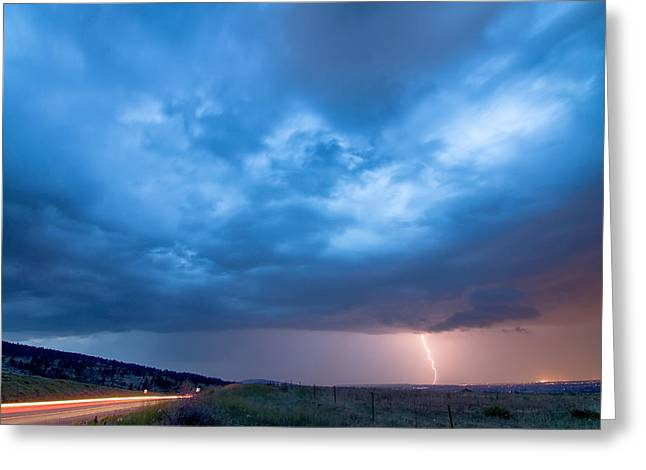 Storm Prints Greeting Cards - Lightning Strike Just Outside of Lyons Colorado Greeting Card by James BO  Insogna
