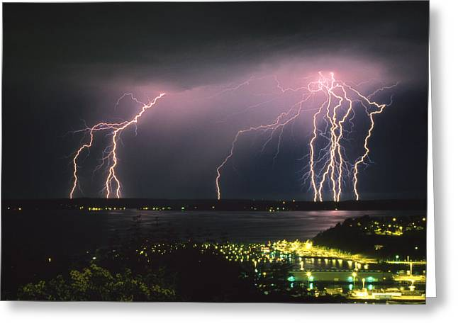 Lightning Strike Greeting Card by King Wu