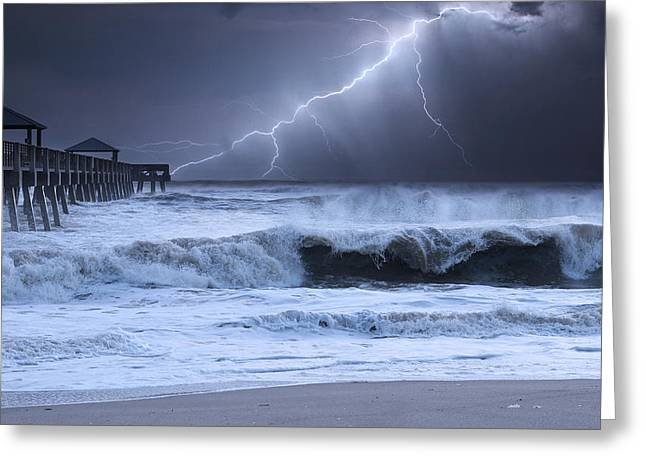 Summer Storm Photographs Greeting Cards - Lightning Strike Greeting Card by Laura  Fasulo