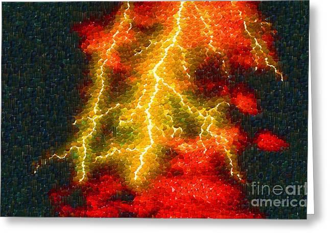 Lightning Strike Paintings Greeting Cards - Lightning strike Greeting Card by Magomed Magomedagaev