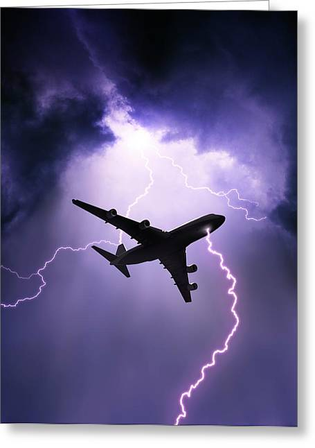 Lightning Strike On Aircraft Greeting Card by David Parker