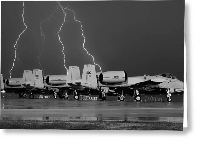 Airpower Greeting Cards - Lightning Strike Over A-10 Thunderbolt Warthogs Greeting Card by Pixabay