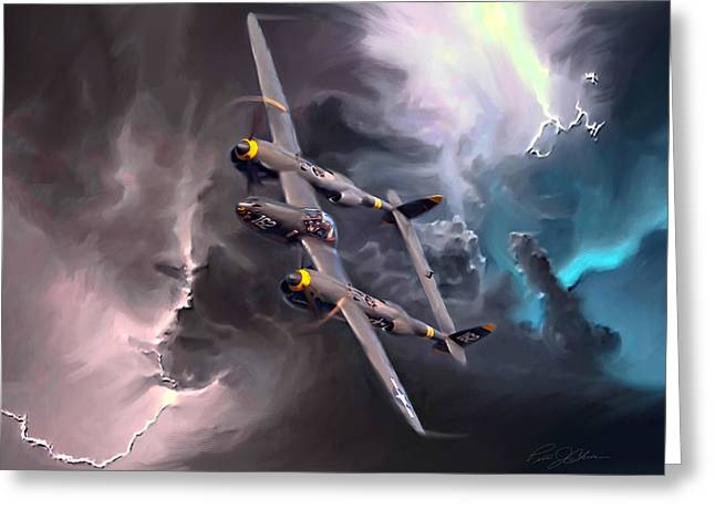 Aeroplane Greeting Cards - Lightning Strike Greeting Card by Peter Chilelli