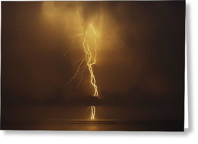 Drillship Greeting Cards - Lightning Strike Greeting Card by Will Akers