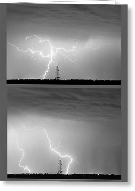 Storm Prints Greeting Cards - Lightning Strikes 4 Image Vertical Progression  Greeting Card by James BO  Insogna