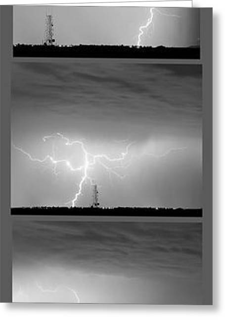 Storm Prints Greeting Cards - Lightning Strikes 5 Image Vertical Progression  Greeting Card by James BO  Insogna