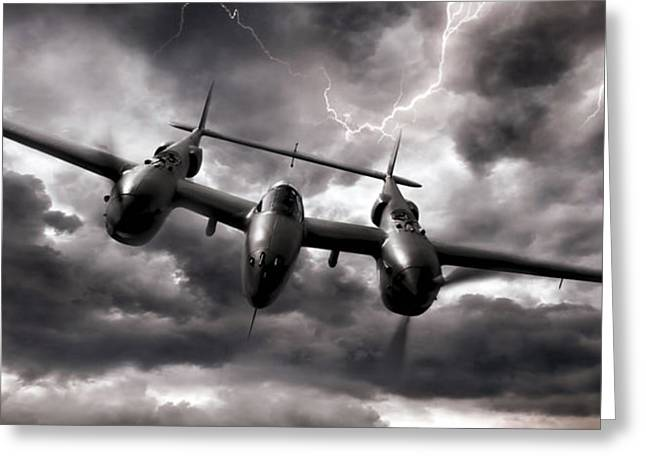 Vintage Aircraft Greeting Cards - Lightning Strikes Again Greeting Card by Peter Chilelli