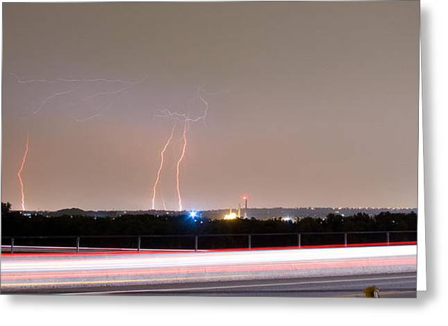 Lightning Strikes Next To Highway Panorama Greeting Card by James BO  Insogna