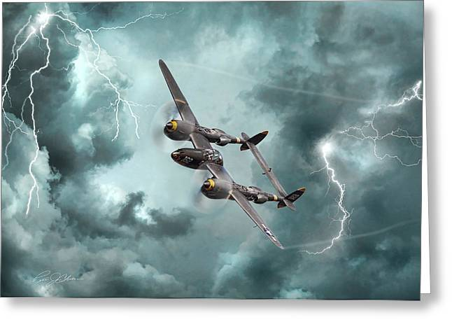 P-38 Greeting Cards - Lightning Strikes Greeting Card by Peter Chilelli