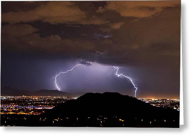 Arizona Lightning Greeting Cards - Lightning Strikes Phoenix  Greeting Card by Saija  Lehtonen