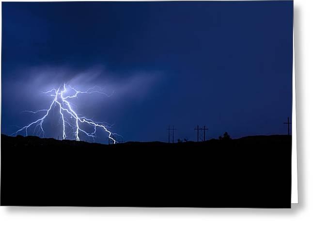 Arizona Lightning Greeting Cards - Lightning Strikes Greeting Card by Saija  Lehtonen