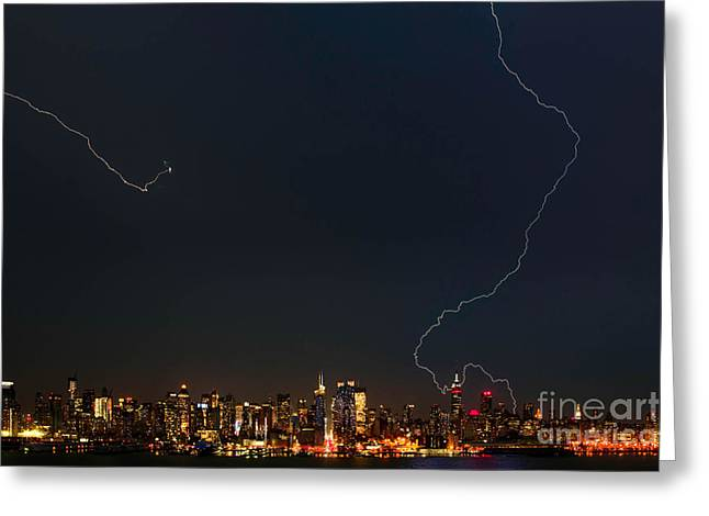 Photography Lightning Digital Art Greeting Cards - Lightning Strikes the Big Apple Greeting Card by Jerry Fornarotto