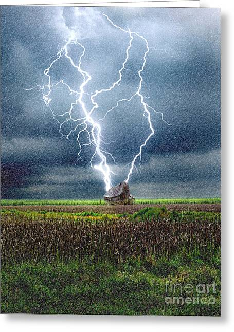 """""""lightning Strike"""" Greeting Cards - Lightning Striking A House Greeting Card by Mike Agliolo"""