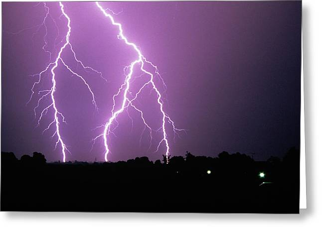 Lightning Photographs Greeting Cards - Lightning Striking During A Storm Greeting Card by Ben Van Den Brink