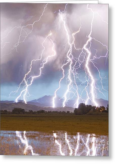 Insogna Greeting Cards - Lightning Striking Longs Peak Foothills 4C Greeting Card by James BO  Insogna