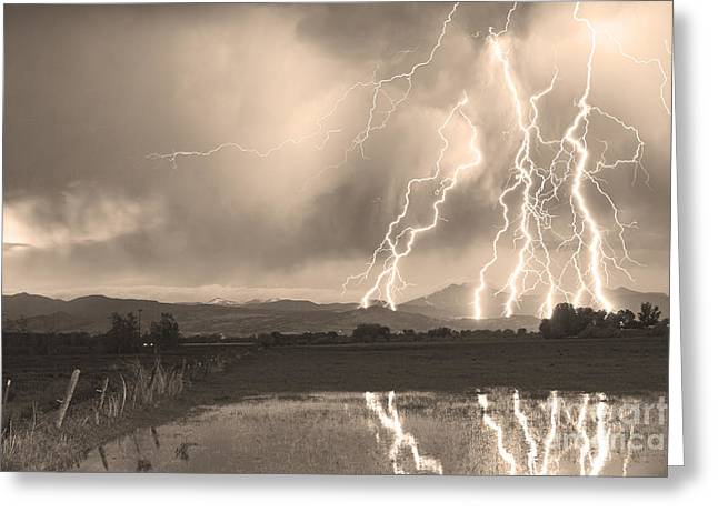 Sepia White Nature Landscapes Greeting Cards - Lightning Striking Longs Peak Foothills Sepia 4 Greeting Card by James BO  Insogna