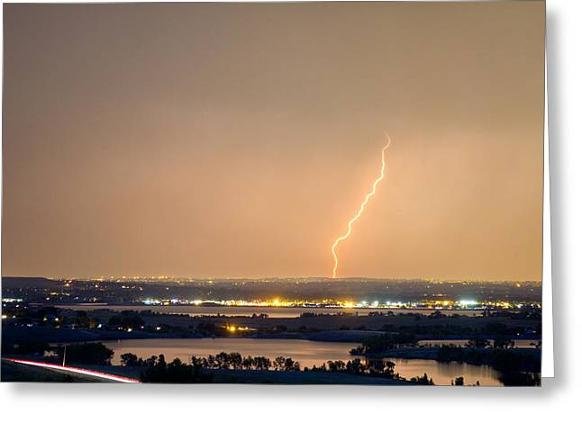 Lightning Gifts Photographs Greeting Cards - Lightning Striking Over Coot Lake and Boulder Reservoir Greeting Card by James BO  Insogna