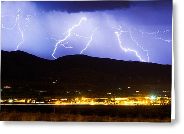 Storm Prints Photographs Greeting Cards - Lightning Striking Over IBM Boulder CO 3 Greeting Card by James BO  Insogna