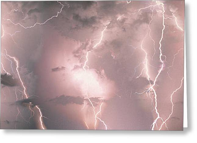 Thunderstorm Greeting Cards - Lightning, Thunderstorm, Weather, Sky Greeting Card by Panoramic Images