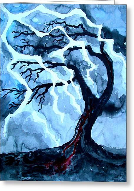 Lightning Strike Paintings Greeting Cards - Lightning Tree Greeting Card by Linda Williams