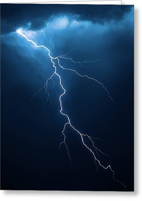Powerful Greeting Cards - Lightning with cloudscape Greeting Card by Johan Swanepoel