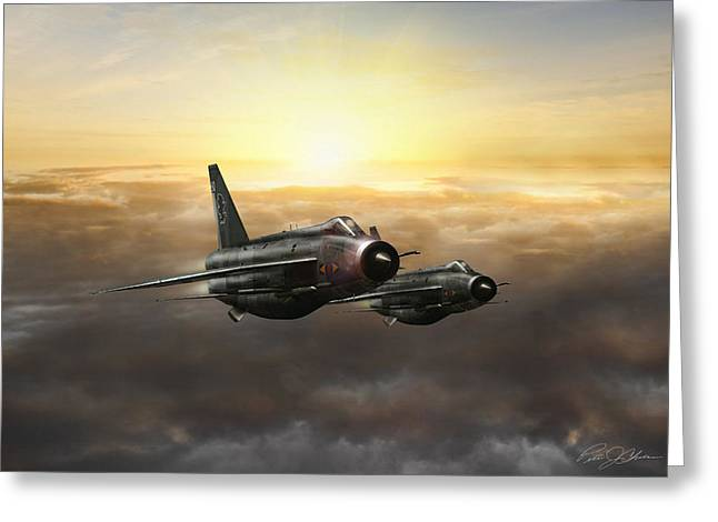 Vintage Airplane Greeting Cards - Lightnings On The Horizon Greeting Card by Peter Chilelli