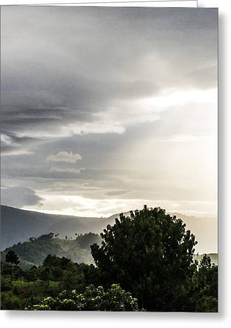 Sight See Greeting Cards - Lightrays Over Santa Clara Guatemala Greeting Card by Shelby  Young
