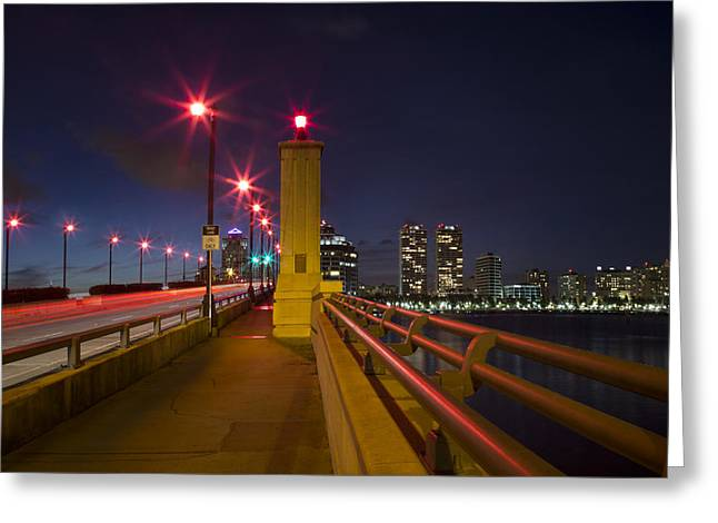 Marina Night Greeting Cards - Lights at Night Greeting Card by Debra and Dave Vanderlaan