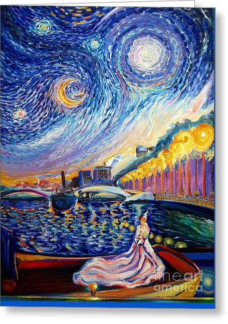 Best Sellers -  - Van Gogh Style Greeting Cards - Lights At Night Greeting Card by Frederick  Luff