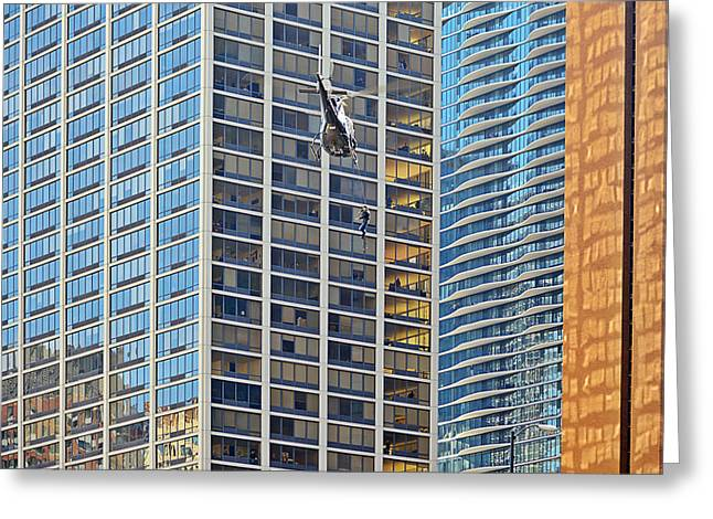 Lights - camera - action - Movie backdrop Chicago Greeting Card by Christine Till