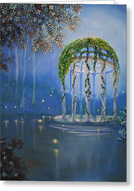 Kinkade Greeting Cards - Lights in the Garden Greeting Card by David Kacey