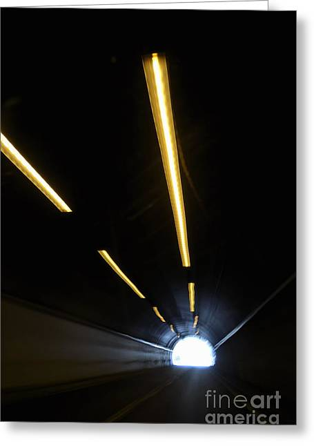 Journeys End Greeting Cards - Lights inside a highway tunnel Greeting Card by Sami Sarkis