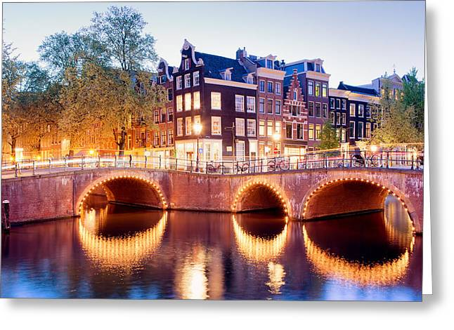 Old Home Place Greeting Cards - Lights of Amsterdam Greeting Card by Artur Bogacki