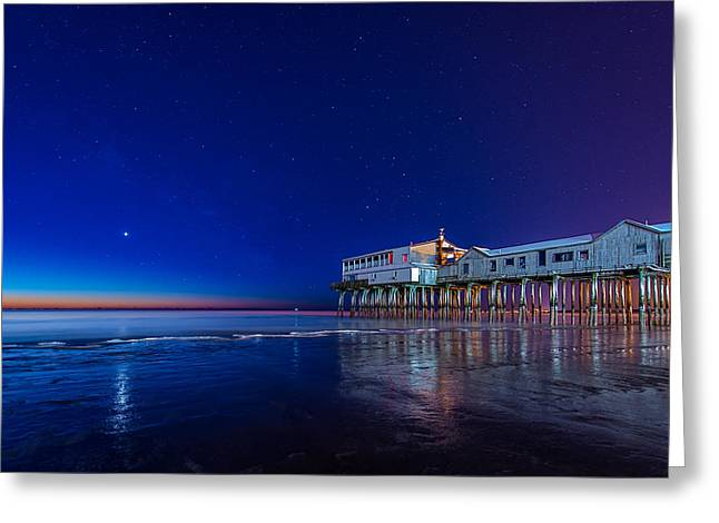 Maine Beach Greeting Cards - Lights of Dawn Greeting Card by Michael Blanchette