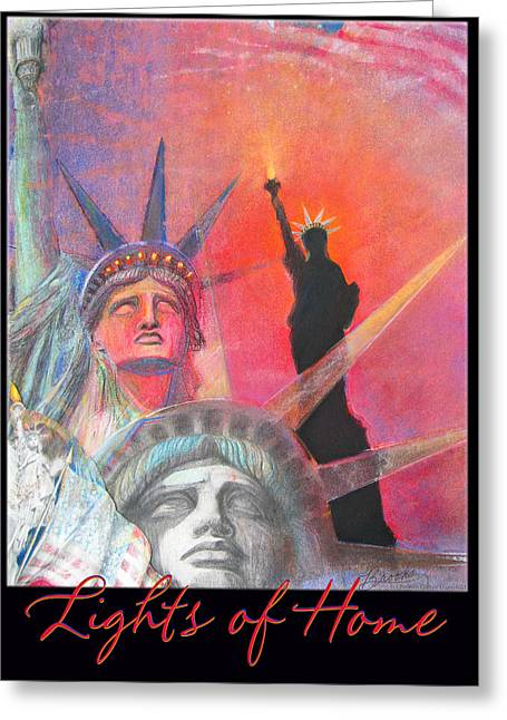 Brook Mixed Media Greeting Cards - Lights of Home Greeting Card by Brooks Garten Hauschild