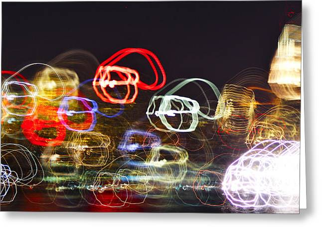 Decor Photography Pyrography Greeting Cards - lights of Manhattan Greeting Card by Habib Ayat