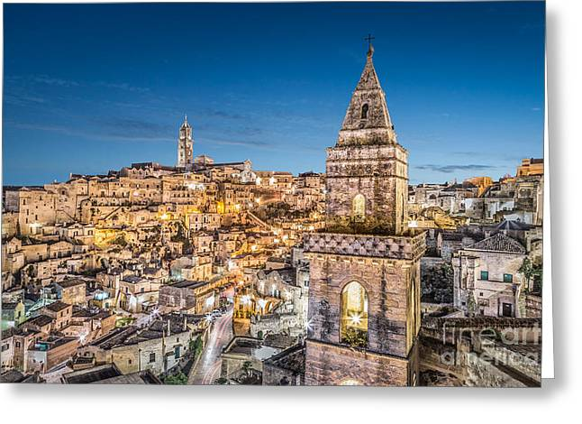Italian Sunset Greeting Cards - Lights of Matera Greeting Card by JR Photography
