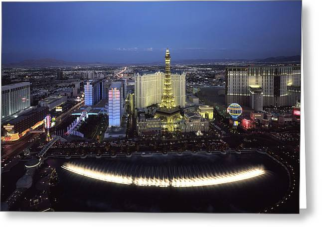Bellagio Fountains Greeting Cards - Lights of Vegas Greeting Card by Mountain Dreams