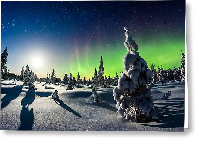 Winter Night Greeting Cards - Lights of Winter Greeting Card by Mikko Karjalainen