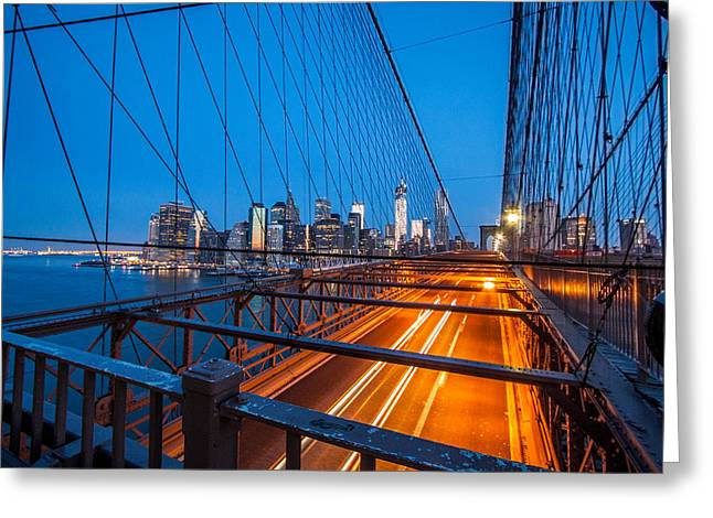 Lower Manhattan Greeting Cards - Lights On A Suspension Greeting Card by Daniel Chen