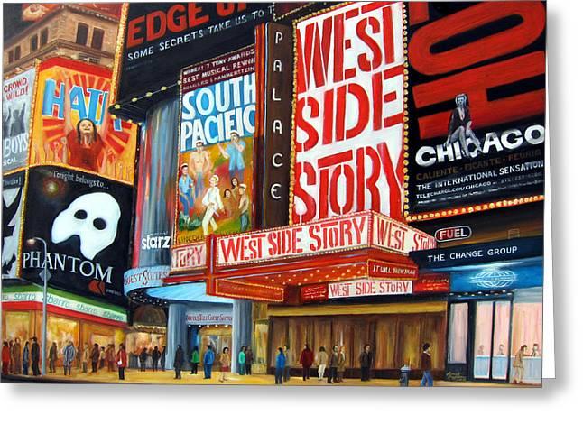 Leonardo Ruggieri Greeting Cards - Lights on Broadway Greeting Card by Leonardo Ruggieri