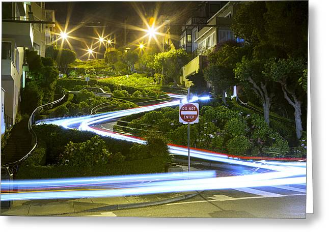 Red School House Greeting Cards - Lights on Lombard Greeting Card by Bryant Coffey